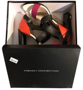 French Connection Black Orange White Pink Sandals