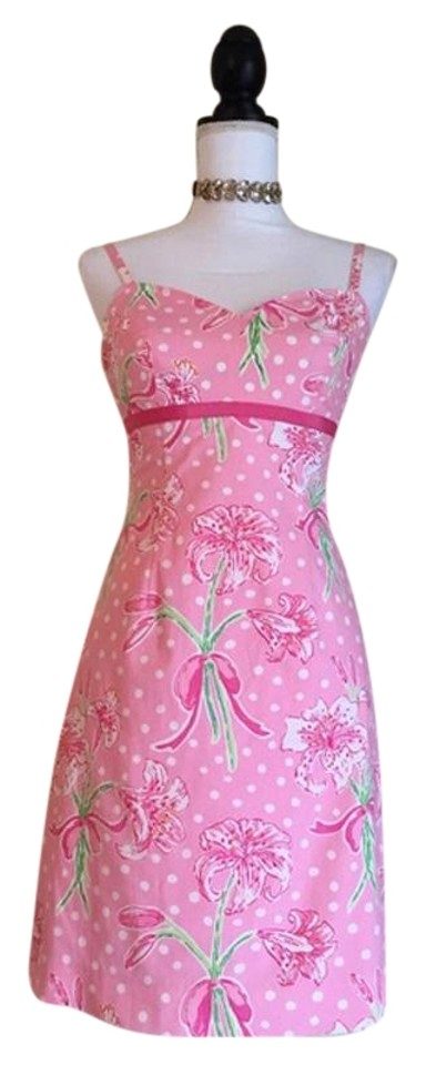 d5bd3c337c Lilly Pulitzer Pink Floral Polka Dot Short Casual Dress Size 2 (XS ...