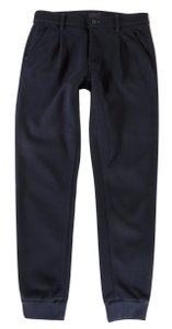 Mother Navy Cuffed Pleated Skinny Pants Black