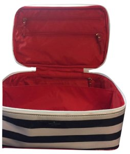 Kate Spade Kate Spade Black & White Stripe Makeup Bag with Red Piping