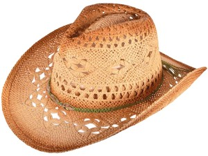 BK Outback Western Straw Cowboy Hat with beads