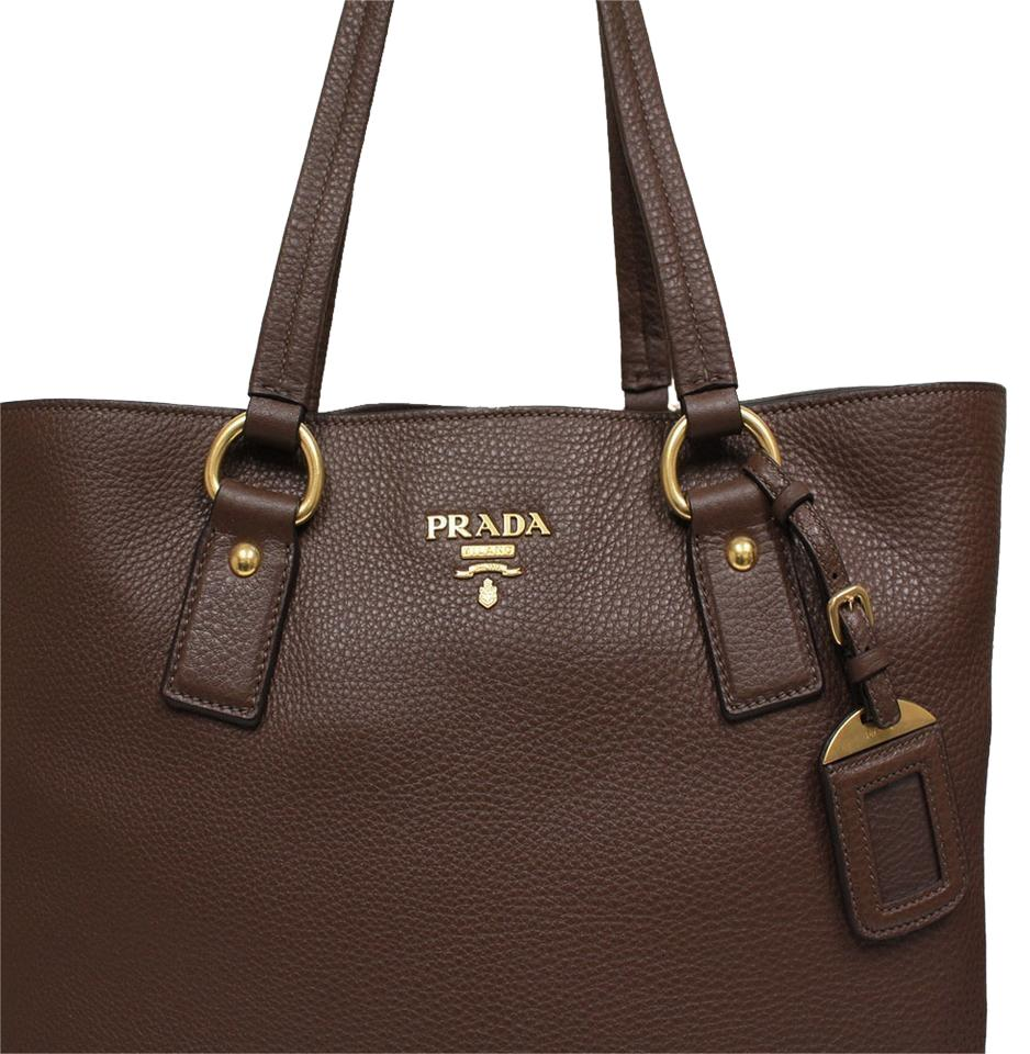 135328e4c40d Prada Vitello Daino Side Zip Brown Pebbled Soft Leather Tote - Tradesy