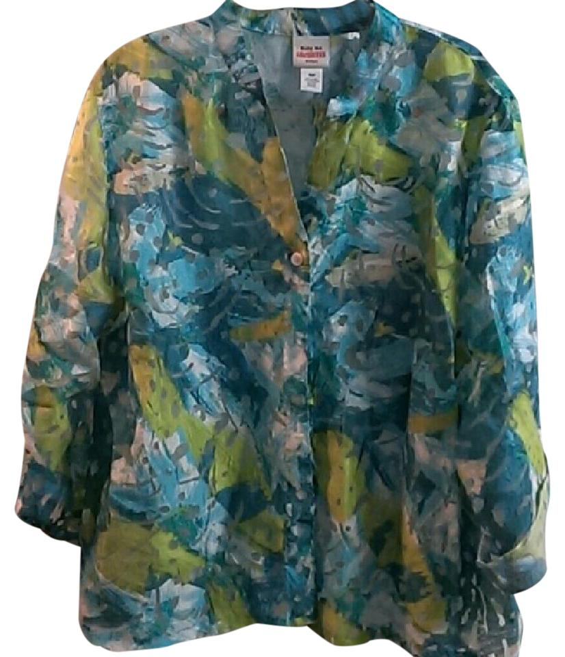 8f825c0a0ad30 Ruby Rd. Blue Grey Greenish Yellow Colorful Sheer Button Up Blouse  Button-down Top