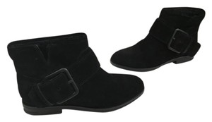 Sigerson Morrison Small Platform Padded Insoles Black suede all leather part sheepskin lining large metal buckle ankle Boots