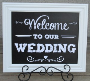 Chalk Board Look Wedding Signs-framed In White Wood Frames-easels Included