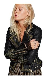 Free People Moto Bohemian Chic Vegan Leather Biker Babe Eclectic Motorcycle Jacket