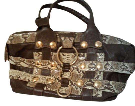 Custo Barcelona Satchel in brown novelty leather