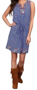 Lucky Brand short dress Blue and printed Sleeveless Day on Tradesy