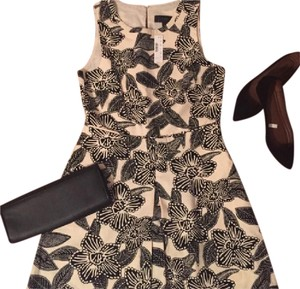 J.Crew short dress Black and Tan Floral Summer Polynesian Floral Sleeveless on Tradesy