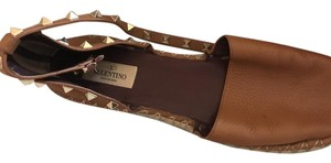 Valentino Summer Ankle Strap Studded Comfortable Camel Flats