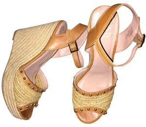 Vince Camuto Tans with gold studs and buckles Wedges