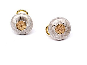 BUCCELLATI Buccellati Geminato 18K Gold Sterling Silver Button Earrings