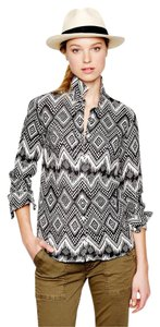 J.Crew Woven Linen Printed Button Down Shirt Black