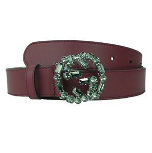Gucci GUCCI 354381 Burgundy Leather Belt with Interl. G Crystal Buckle 80-32