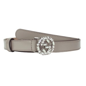 Gucci GUCCI 354380 Gray Leather Belt with Interlocking G Crystal Buckle 85-3