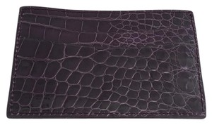 Judith Leiber Alligator Card Holder in Plum