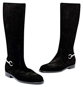 Gucci Suede Horse Bitt Riding Black Boots