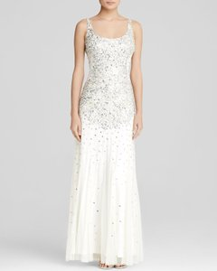 Adrianna Papell Scoop Neck Beaded Mesh Gown Wedding Dress