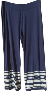 Chico's Baggy Pants Blue white stripes around bottom