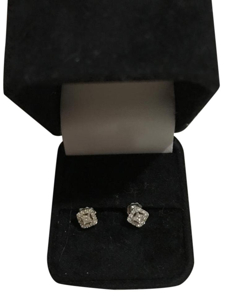 diamond products mirabess gold cut earrings princess stud solitaire white in