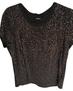 DKNY Top Charcoal gray with sequins