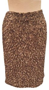Vince Sequin Metallic Classic Style Timeless Fashion Skirt Gold