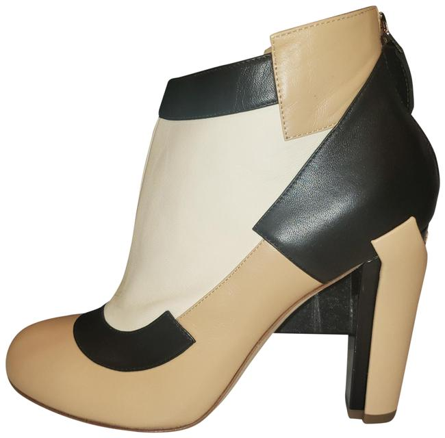 Item - Black Beige Cream Colorblock Three Tone Mixed Leather Heels Ankle Boots/Booties Size EU 36.5 (Approx. US 6.5) Regular (M, B)