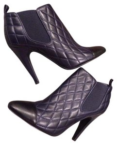 Chanel Cc Quilted Ankle Navy Boots