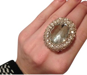 Adia Kibur Adia Kibur Gold and Faceted Crystal Cocktail Ring