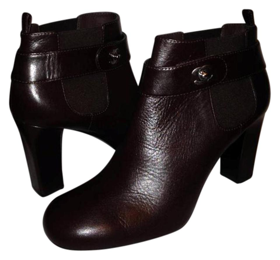 Chanel Brown 13a Leather Turnlock Ankle Heels Boots Booties Size EU ...