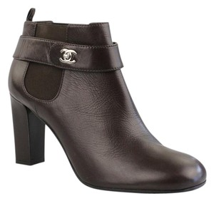 Chanel Ankle Turnlock Brown Boots