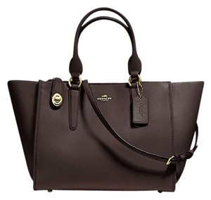 Coach Leather F59182 Brown Crosby Satchel in Dark Brown