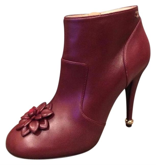 Item - Burgundy Leather Camellia Flower Ankle Heel Boots/Booties Size EU 39.5 (Approx. US 9.5) Regular (M, B)