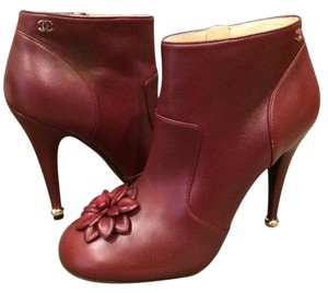 Chanel Cc Camellia Flower Burgundy Boots