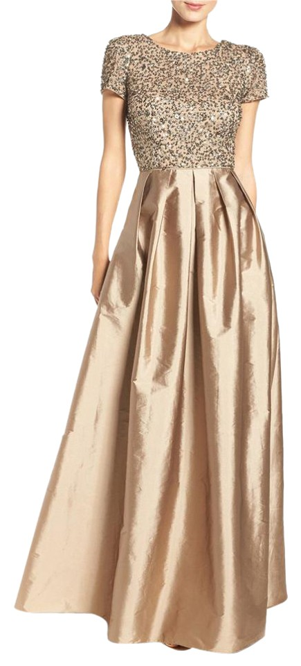 39145cda91 Adrianna Papell Antique Bronze Embellished Bodice Gown Long Formal ...