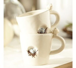 Pottery Barn Bird Nest Mugs