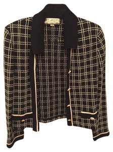 St. John Knit Checkered Navy Blue and White Blazer