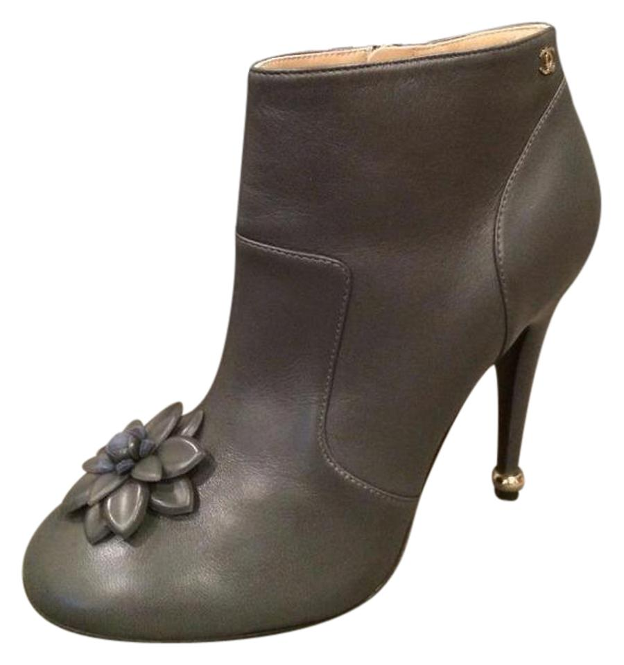 6abff0cb2ced Chanel Grey Leather Camellia Flower Ankle Heels Boots/Booties Size ...