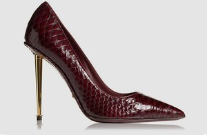 Tom Ford Snake Skin Python Skin Gold Heel Red Pumps