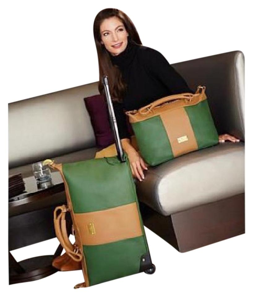 e49758a5c Joy Mangano New/Joy Set Rich Saddle Colorblock Combination Real  Leather/Poly Lined Weekend/Travel Bag