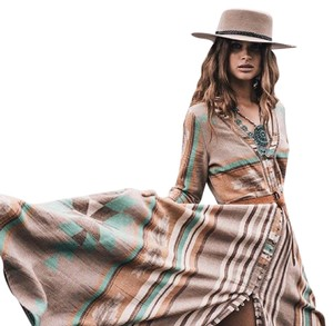 Tan, Brown, Turquoise Maxi Dress by Free People Spell Gypsy Bohemian