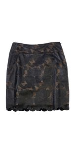 Kay Unger Black Leather Laser Cut Rose Print Skirt