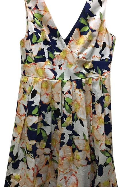 Item - Blue Yellow Floral Mid-length Cocktail Dress Size 6 (S)