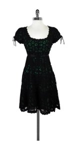 Betsey Johnson short dress Black Crochet Lace Green Lined on Tradesy