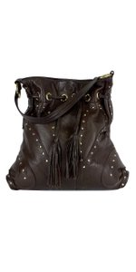 Le'Bulga Brown Leather Studded Butterfly Tote