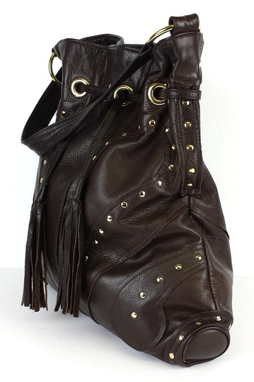Le'Bulga Brown Leather Studded Butterfly Tote Image 1