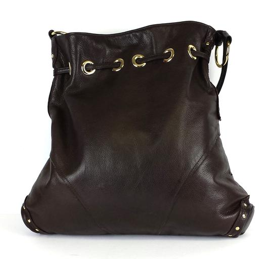 Le'Bulga Brown Leather Studded Butterfly Tote Image 2