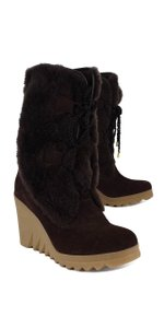 Coach Brown Furry Suede Wedges Boots
