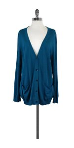 St. John Teal V-neck Cardigan