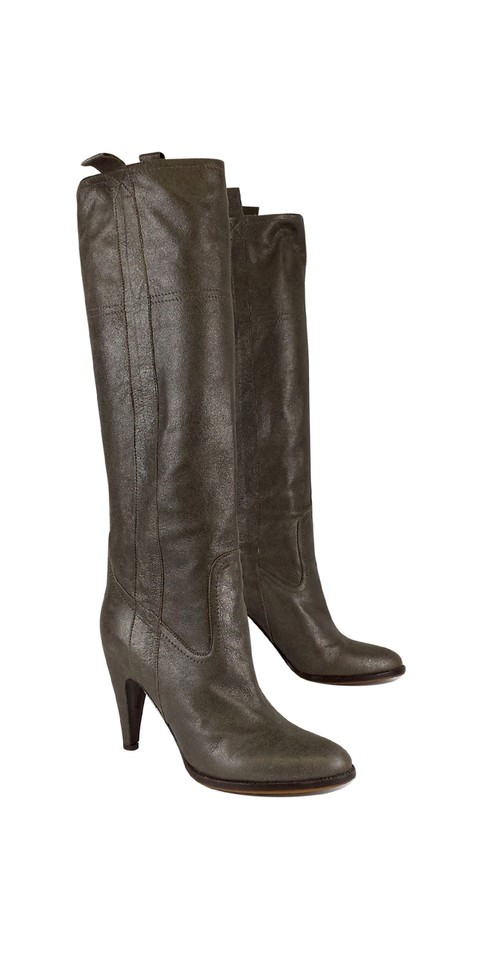L'Autre Chose Taupe Metallic Metallic Taupe Leather Boots/Booties cca8d8